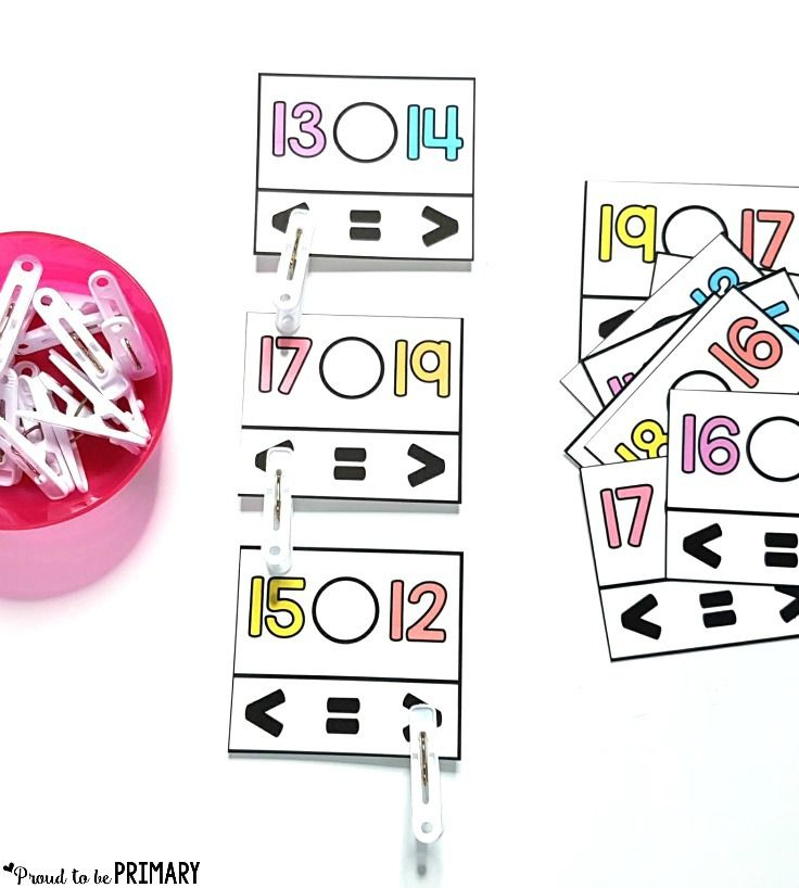 comparing numbers clip cards - building number sense to 20