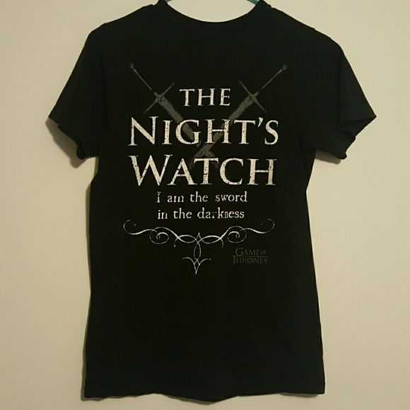 """Game of thrones night watch tee Shirt is small, sized for men. Reads """"the night watch I am the sword in the darkness"""" Hot Topic Tops Tees - Short Sleeve"""