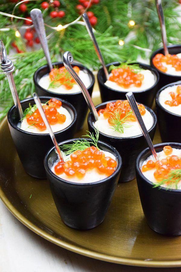 Emulsion de chou-fleur aux oeufs de saumon en verrines - Envie d'apéro