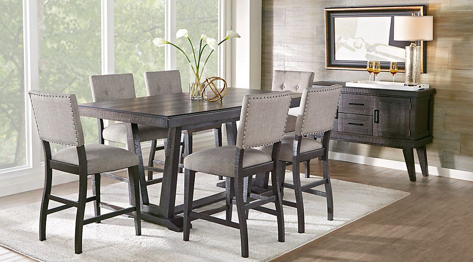 Picture Of Hill Creek Black 5 Pc Counter Height Dining Room From Furniture Dining Room Sets Dining Room Design Counter Height Dining Table