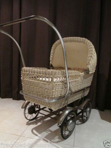 san francisco 678ac 1eb7e Lovely True Vintage Retro Cane Wicker Life Size Pram In Great Vintage  Condition