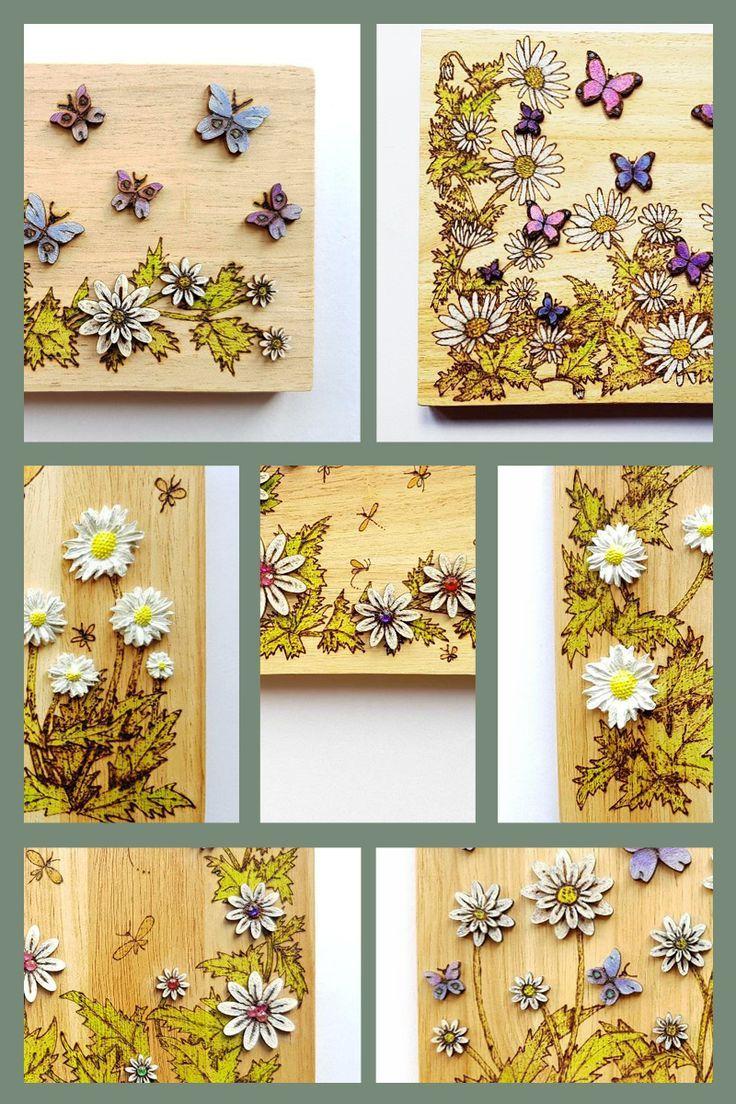 Wood wall art floral wall art decorating rustic wood daisy
