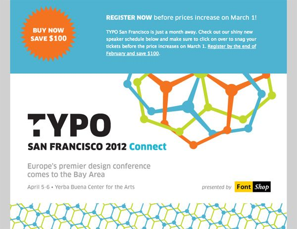Event promotion email for the Typo Design Conference from FontShop ...
