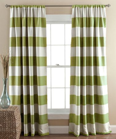 Green Stripe Blackout Curtain Panel Set Of Two Panel Curtains