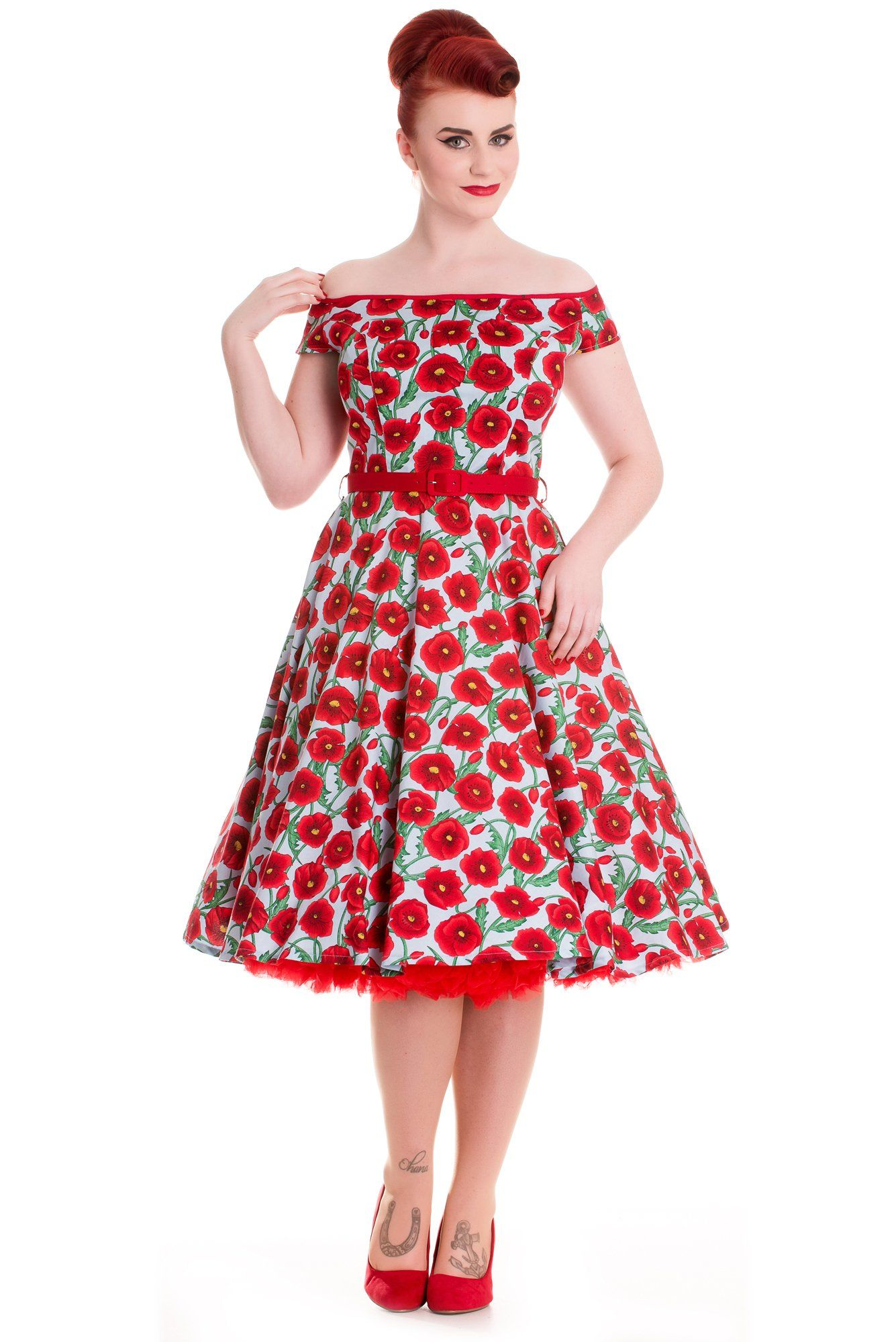 Hell Bunny Blue Cordelia Poppies 50s Rockabilly Retro Swing Dress ...