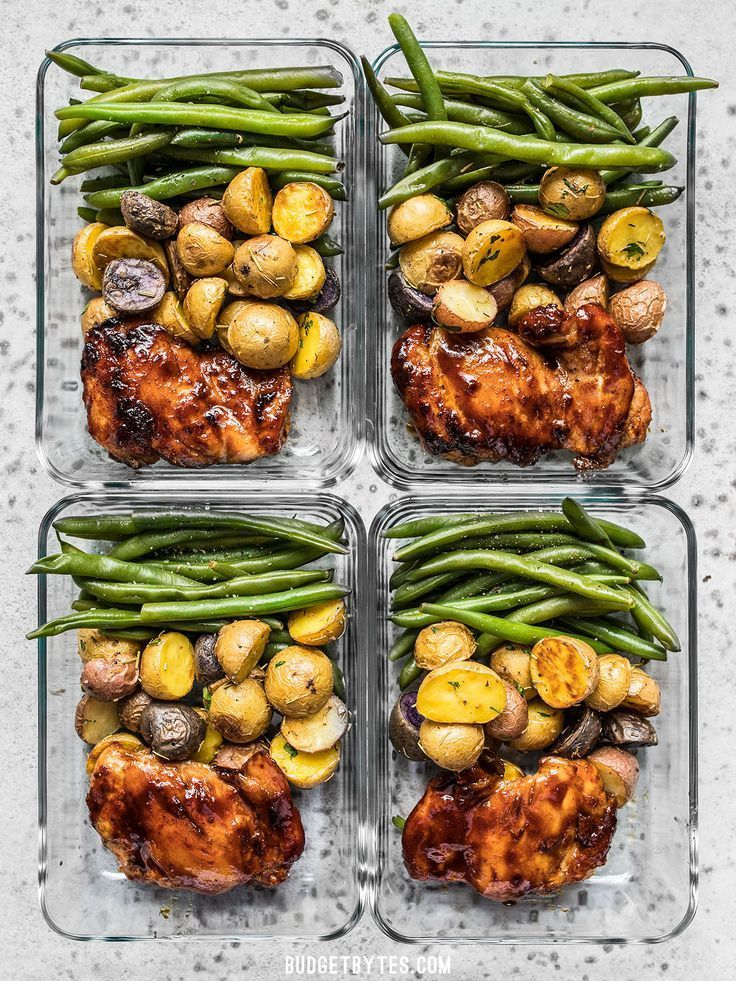 Glazed Chicken Meal Prep - Meat and Potatoes Reinvented - Budget Bytes
