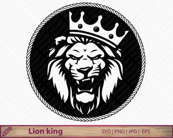 Lion svg, Lion with crown clipart, lion king png, lion silhouette cut file cricut, printable lion roar, eps vector, digital download