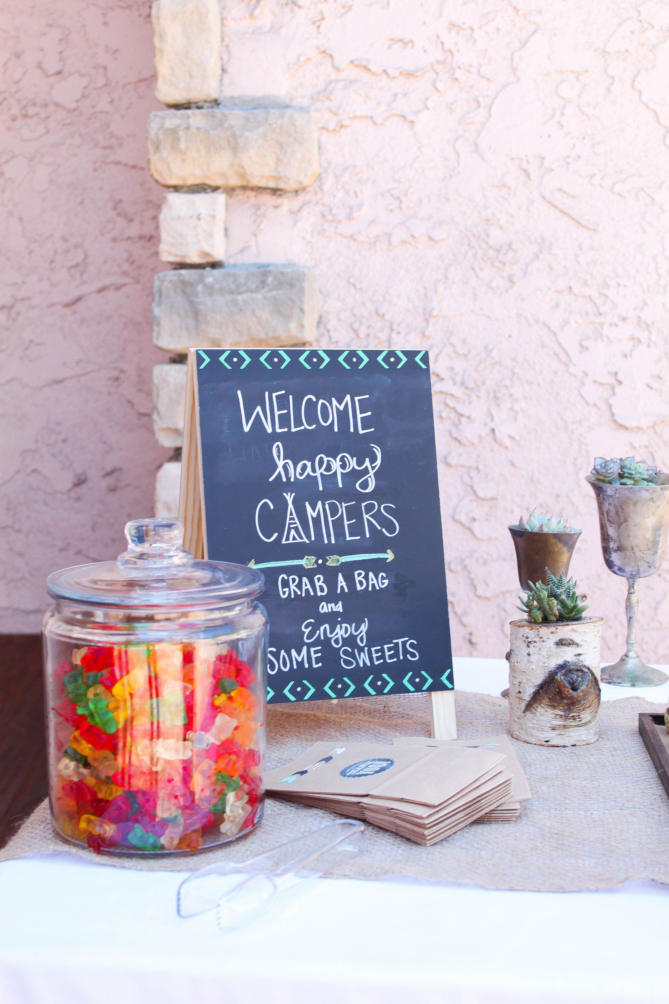 Navajo Theme. Arrows. Candy Buffet. Succulents. Photo Credit: Cori Kleckner Photography
