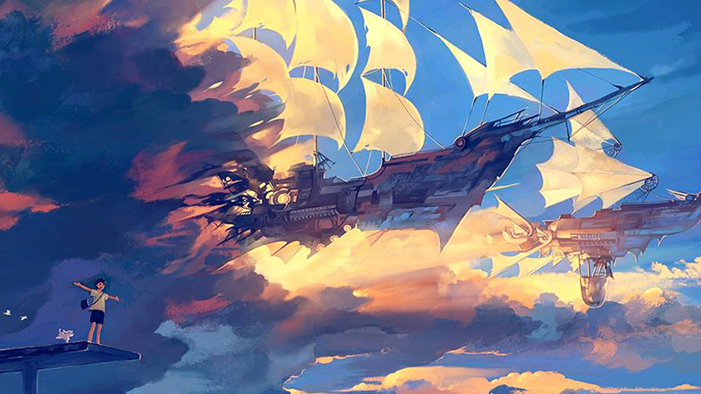 Az68 Fly Ship Anime Illustration Art Blue Desktop Wallpaper Art Anime Scenery Desktop Wallpaper