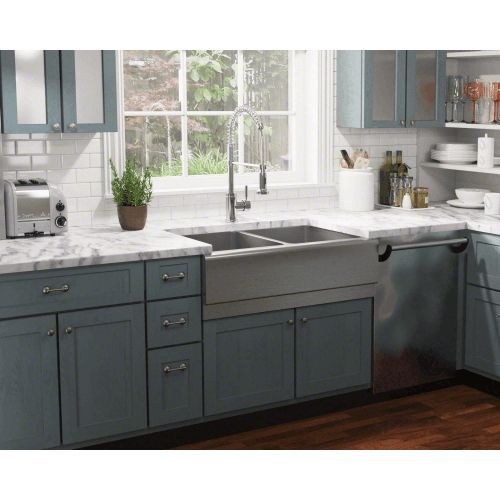 Stainless Farmhouse Sink 33 Double Bowl Sound Insulated