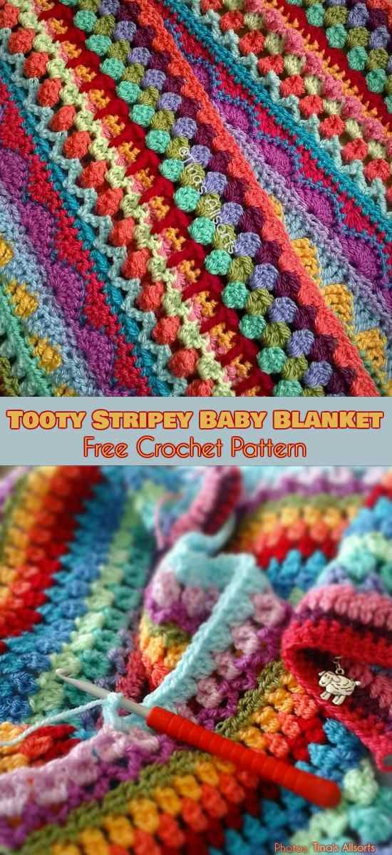Tooty Stripey Baby Blanket Free Pattern | Decken, Häkeln und ...