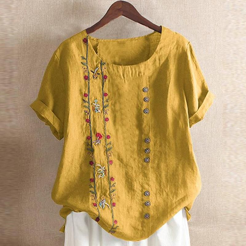 New Women Bohemian Summer Floral Embroidered Short Sleeve T Shirt