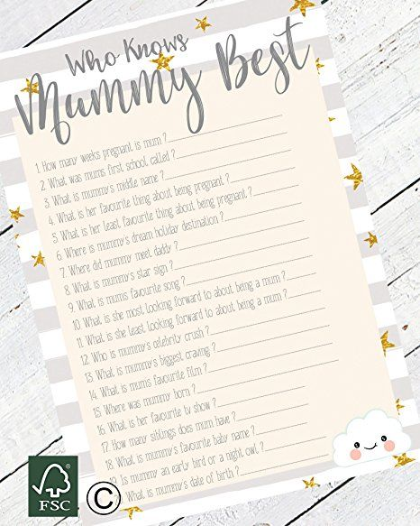 Baby Shower Game Who Knows Mummy Best Comes With 10 Sheets