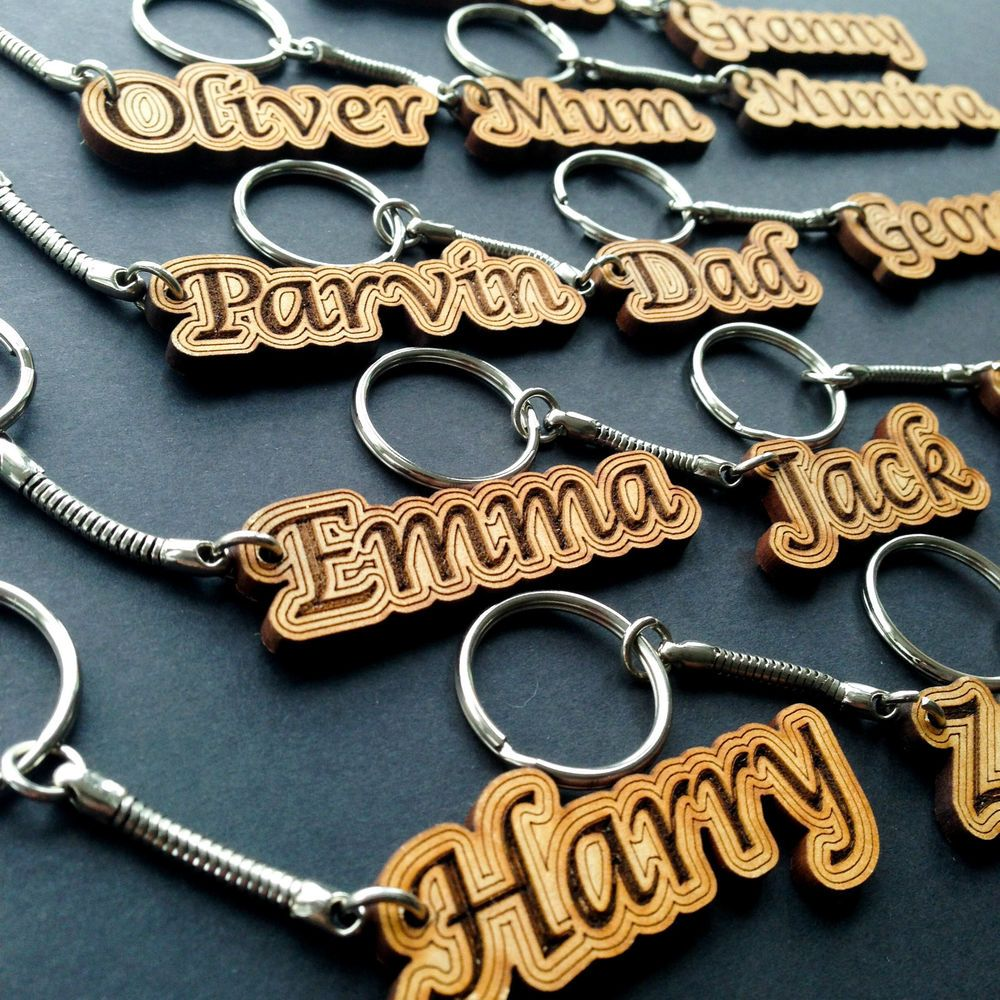Details About Personalised Keyring Name Gift Wooden Keychain Novelty