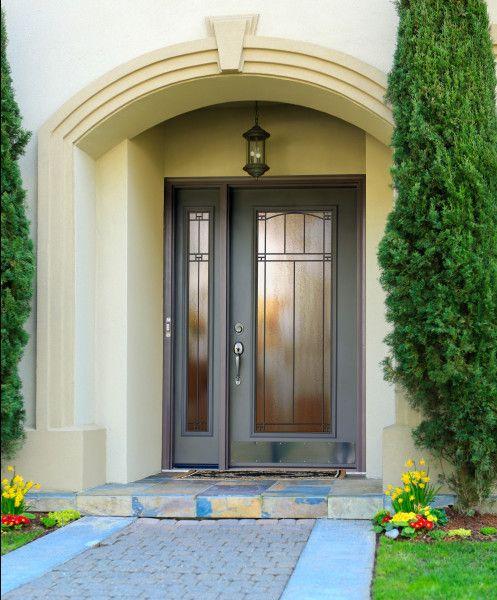provia legacy carmen gray mid century modern steel front entry door steel front doors. Black Bedroom Furniture Sets. Home Design Ideas