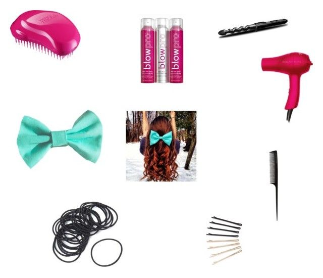 """""""What you need is to make a curly ponytail."""" by anaiskwesele1 ❤ liked on Polyvore featuring Belleza, GHD, DIVA, Tangle Teezer, BaByliss, blow y ban.do"""