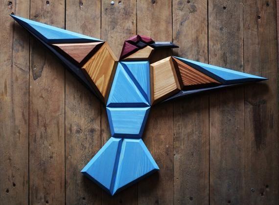 Wooden bee-eater bird wall decor