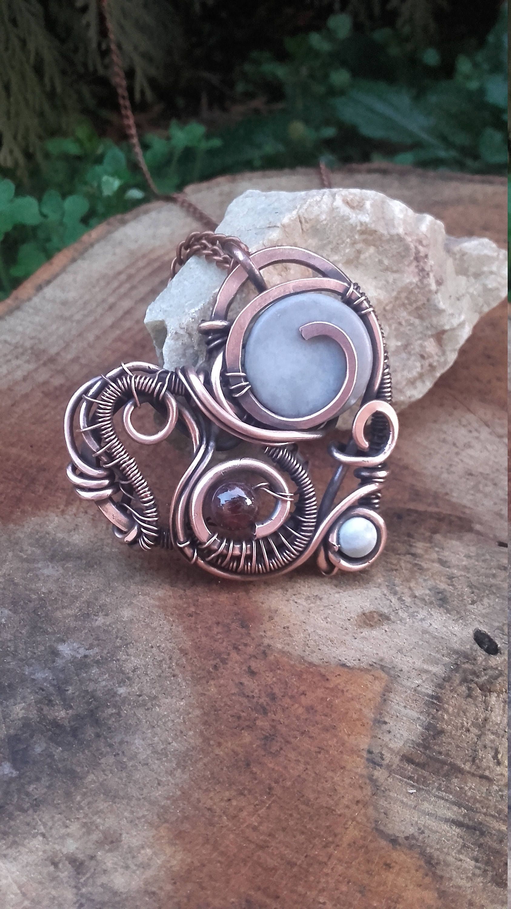 pin bead stone wire copper my flattened and creations pendant