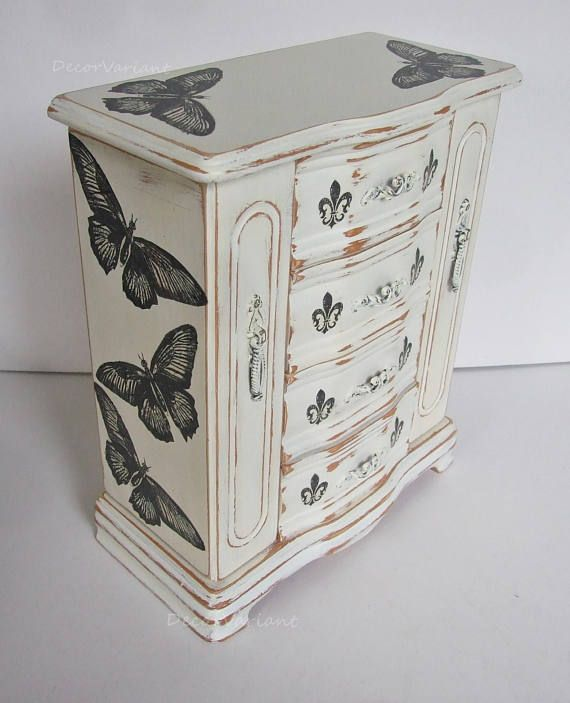butterfly jewellery box shabby chic jewellery box vintage Projects