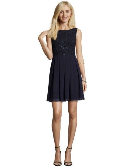 JAKES-COLLECTION Cocktailkleid mit Spitze und Pailletten in Blau ...