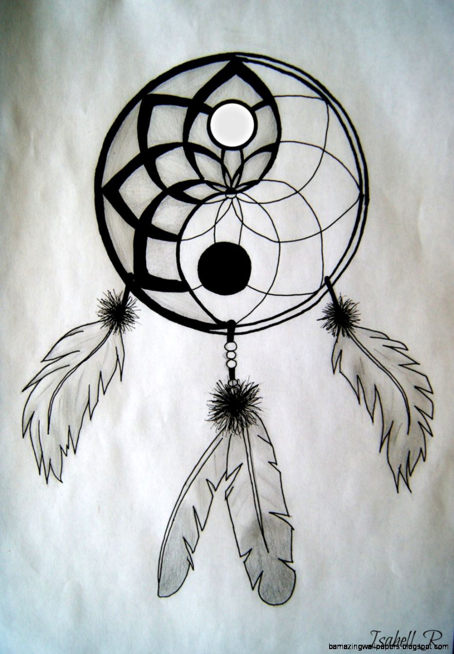 Tumblr iphone wallpaper yin yang - I Like The Whole Ying Yang Thing But The Way The Feathers Are Placed I M Not A Big Fan Of That Ying And Yang Dreamcatcher On Deviantart