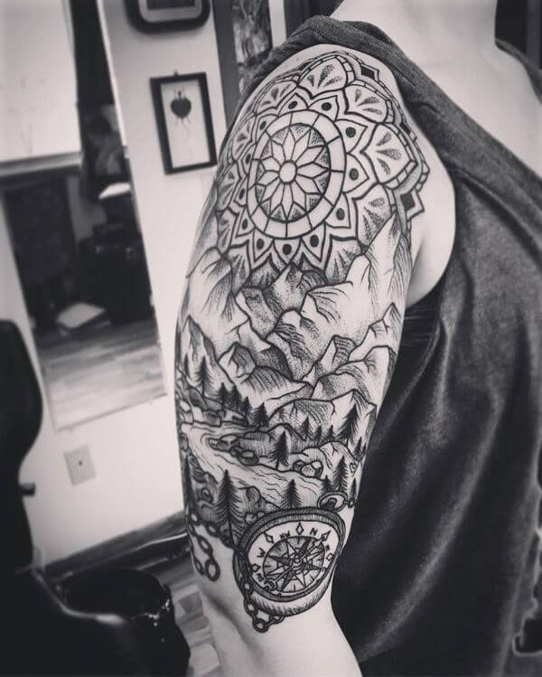 52-Dotwork-Half-Sleeve-Compass-Tattoo-Image-for-Men