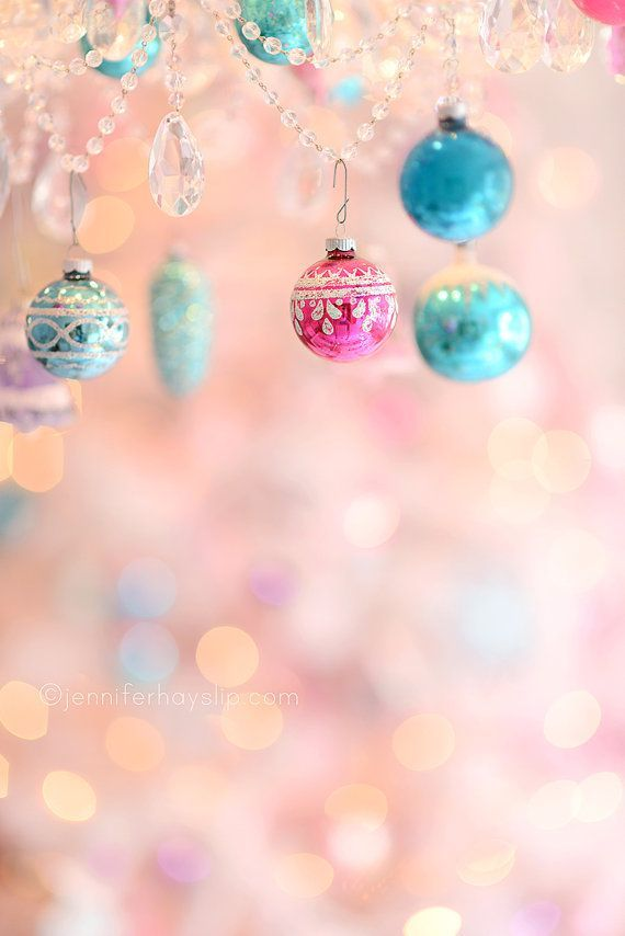 Pastel Ornament Wonderland Bokeh Christmas Photography 8x10 Shabby Cottage Holiday Home Decor Wall Art Print