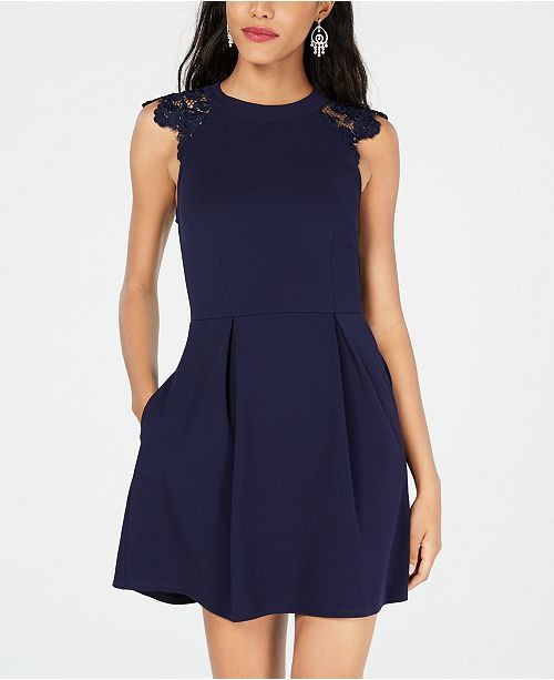 Speechless Juniors Lace Contrast Fit Amp Flare Dress