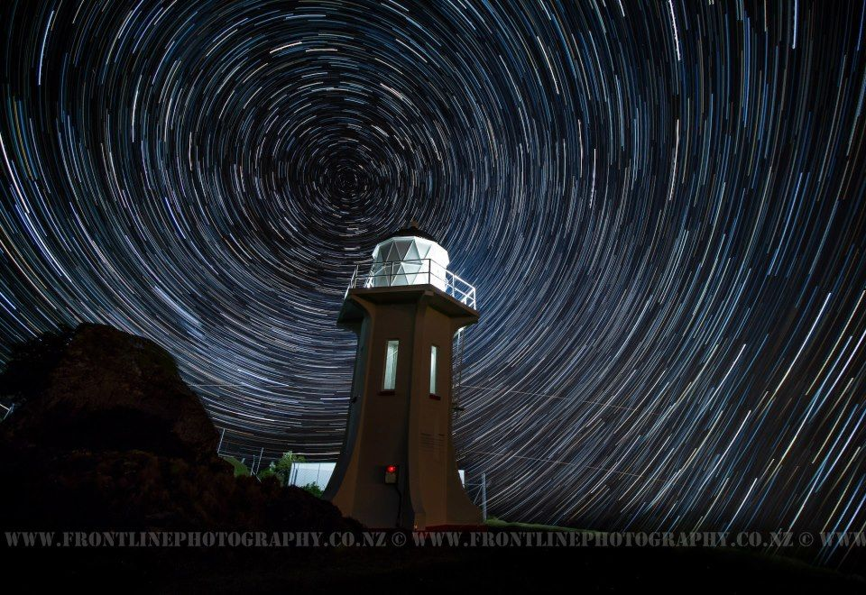Rob Wilson shot this image November 10 2012 of startrails over the lighthouse at Baring Head, in Wellington, New Zealand. The lighthouse was one of the last two towers to be built in New Zealand and was constructed in 1935. The stars rotating in the shot are the southern end of the Milky Way  Wilson used a Canon 5D MkIII and was shooting at ~16mm on his 16-35mm 2.8 Canon lens; the final product was image stacked