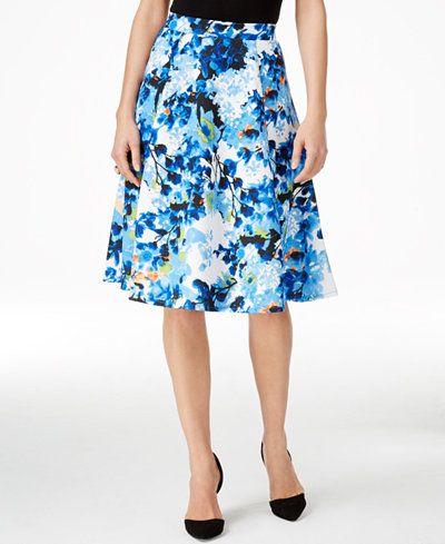 Grace Elements Printed Scuba A-Line Skirt