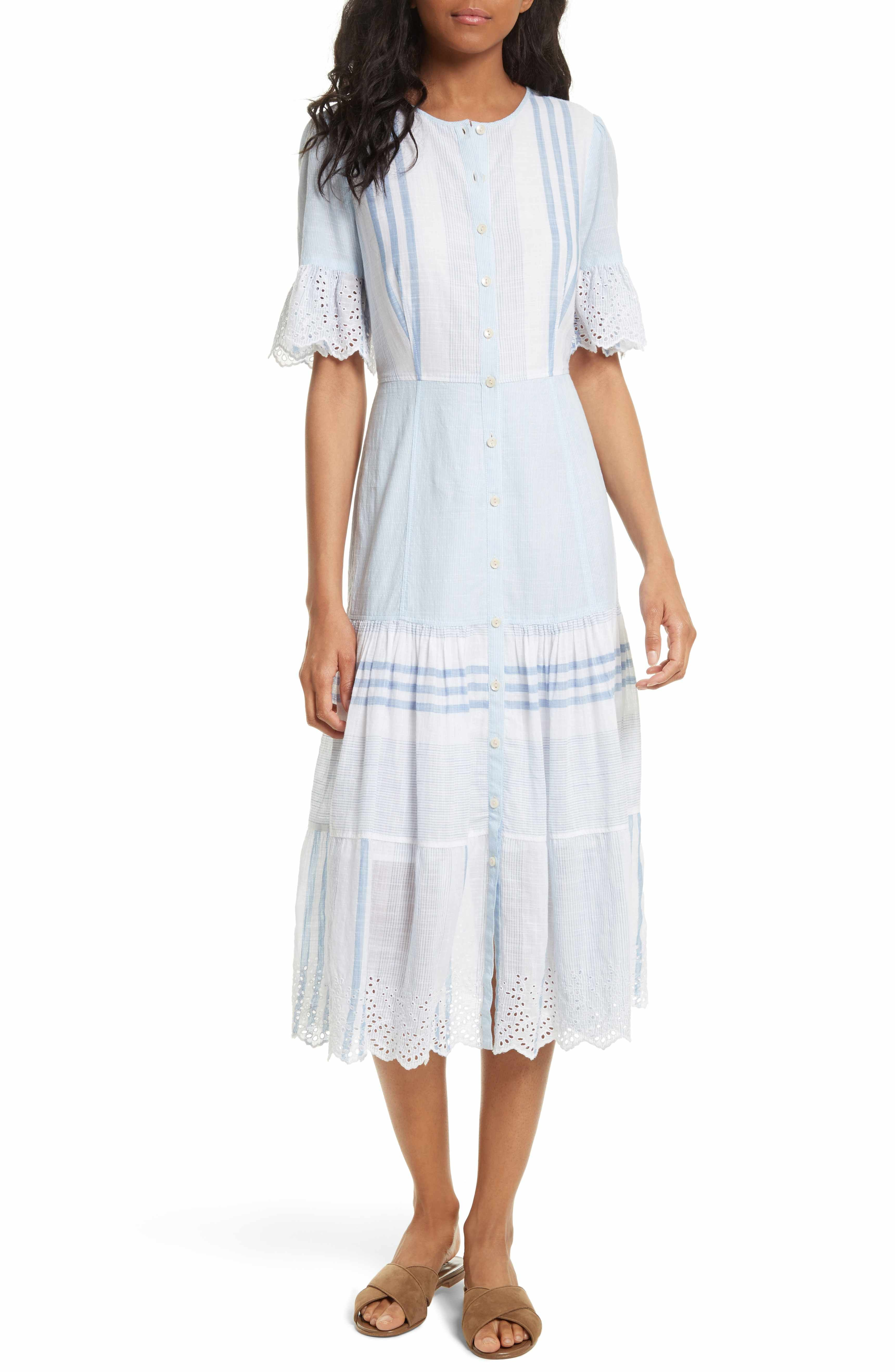 ca0ceaa130d Main Image - La Vie Rebecca Taylor Stripe Cotton Midi Dress ...