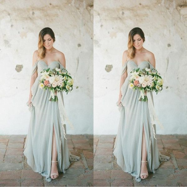 Sage Boho Bridesmaid Dresses 2018 Eleagnt Long For Wedding Guest Dress Chiffon Off Shoulder Side Split Plus Size Party Maid Of Honor Gowns From