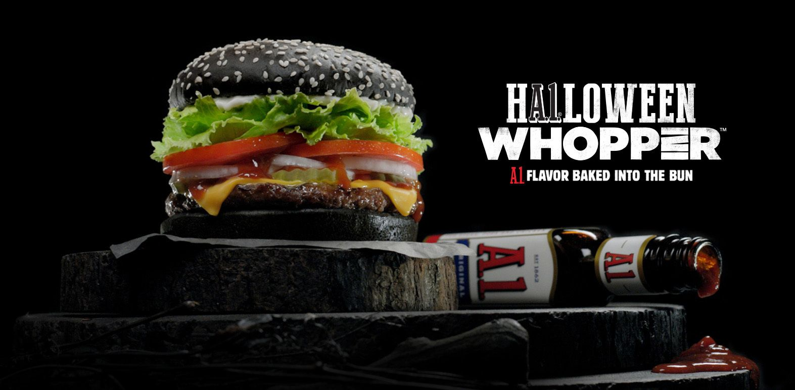 Burger King Restaurants Unveil The A 1 Halloween Whopper Sandwich With A 1 Flavor Baked Into The Black Bun Burger Halloween Whopper Black Burger