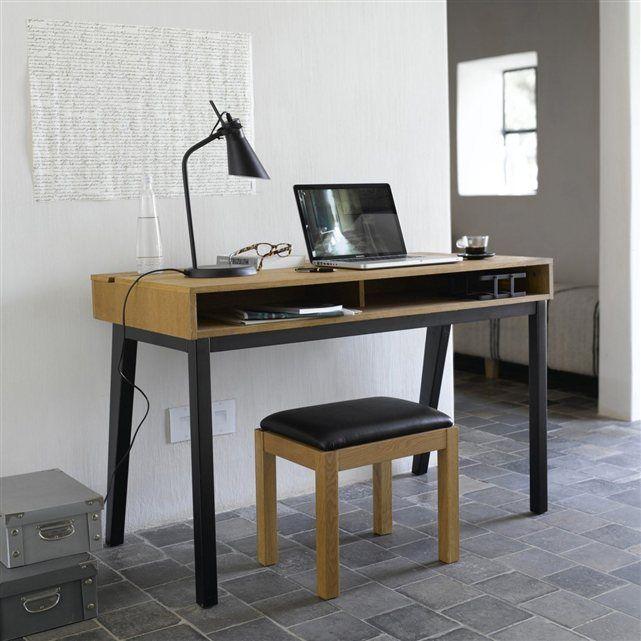 Bureau Caisson Niche Plaque Chene Pietement Teinte Noir Watford Idee Deco Bureau Meuble Maison Mobilier De Salon
