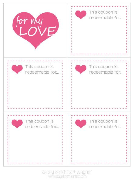 Stay-at-Home Artist made with love coupon book For my sweet - blank voucher template