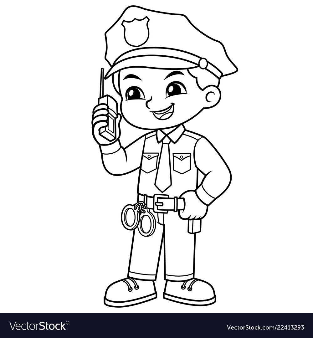 Police Officer Boy Checking Information With Walky Talky Bw Download A Free Preview Or High Qualit Cartoon Coloring Pages Coloring Pages Art Drawings For Kids