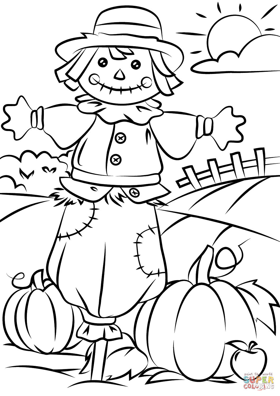 Coloring Autumn Scene with Scarecrow Coloring Page Free