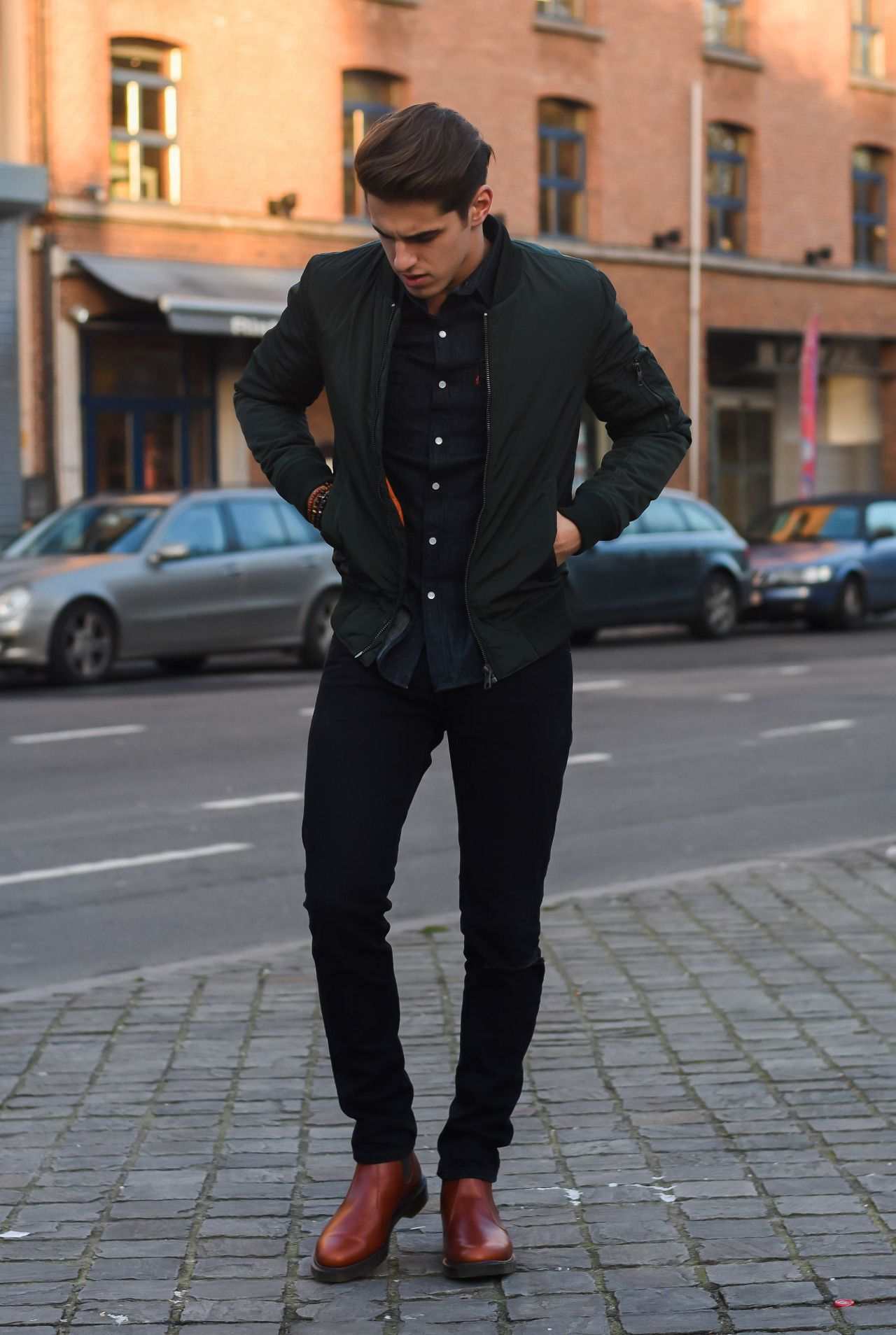 3e1bb0a25 urban // boots, black denim, bomber jacket, button down, menswear ...