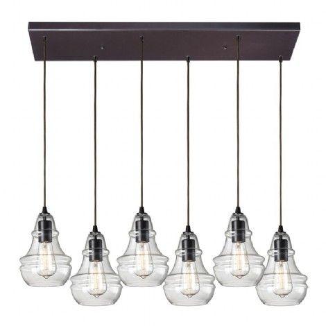 Luminaire suspendu linéaire à 6 ampoules bronze ajustables, idéal