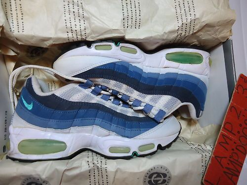 reputable site d8ca7 8cfa1 Nike AIR MAX 95 7.5 1995 rare vtg og box white green blue ...