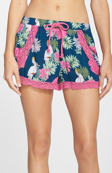 PJ Salvage 'Challe' Lace Trim Print Shorts (Nordstrom Exclusive)