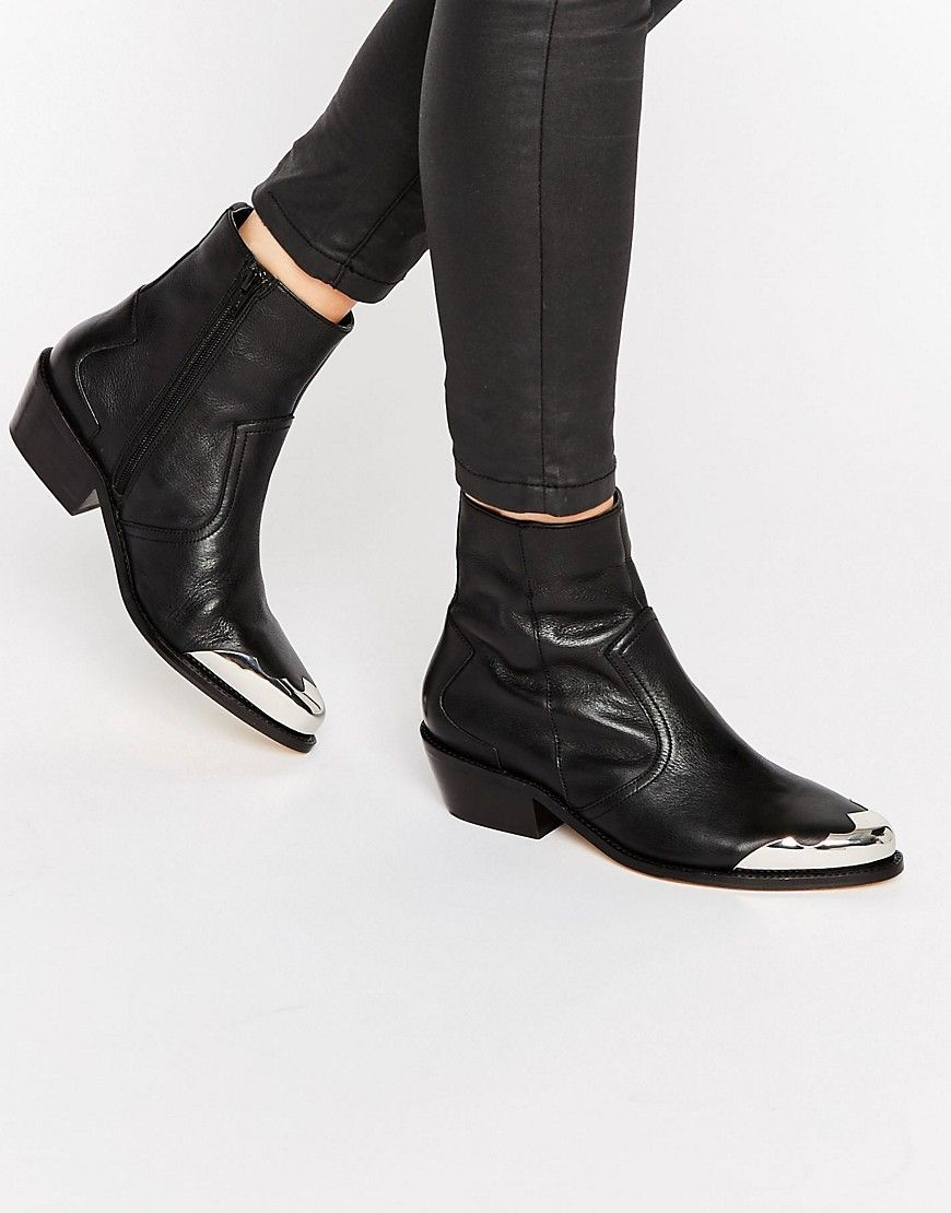 8d4fb10a59f ASOS APHRODITE Leather Western Ankle Boots at asos.com   Booties ...