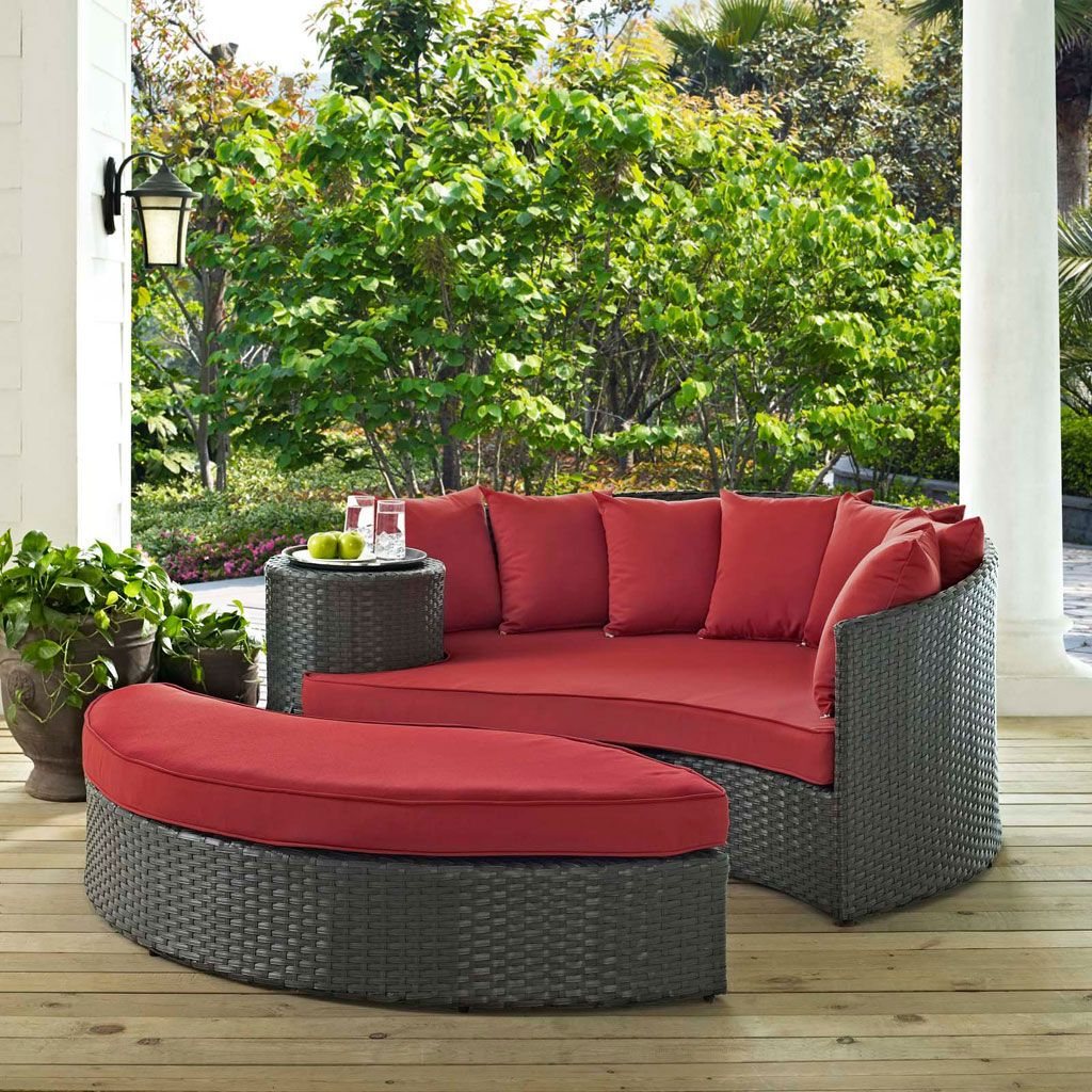 Modway sojourn 2 piece outdoor daybed set in a gray canvas red finish eei