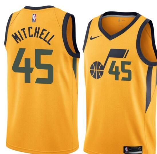 Men 45 Donovan Mitchell Jersey Yellow Utah Jazz Swingman Fanatics ... 5c31af655