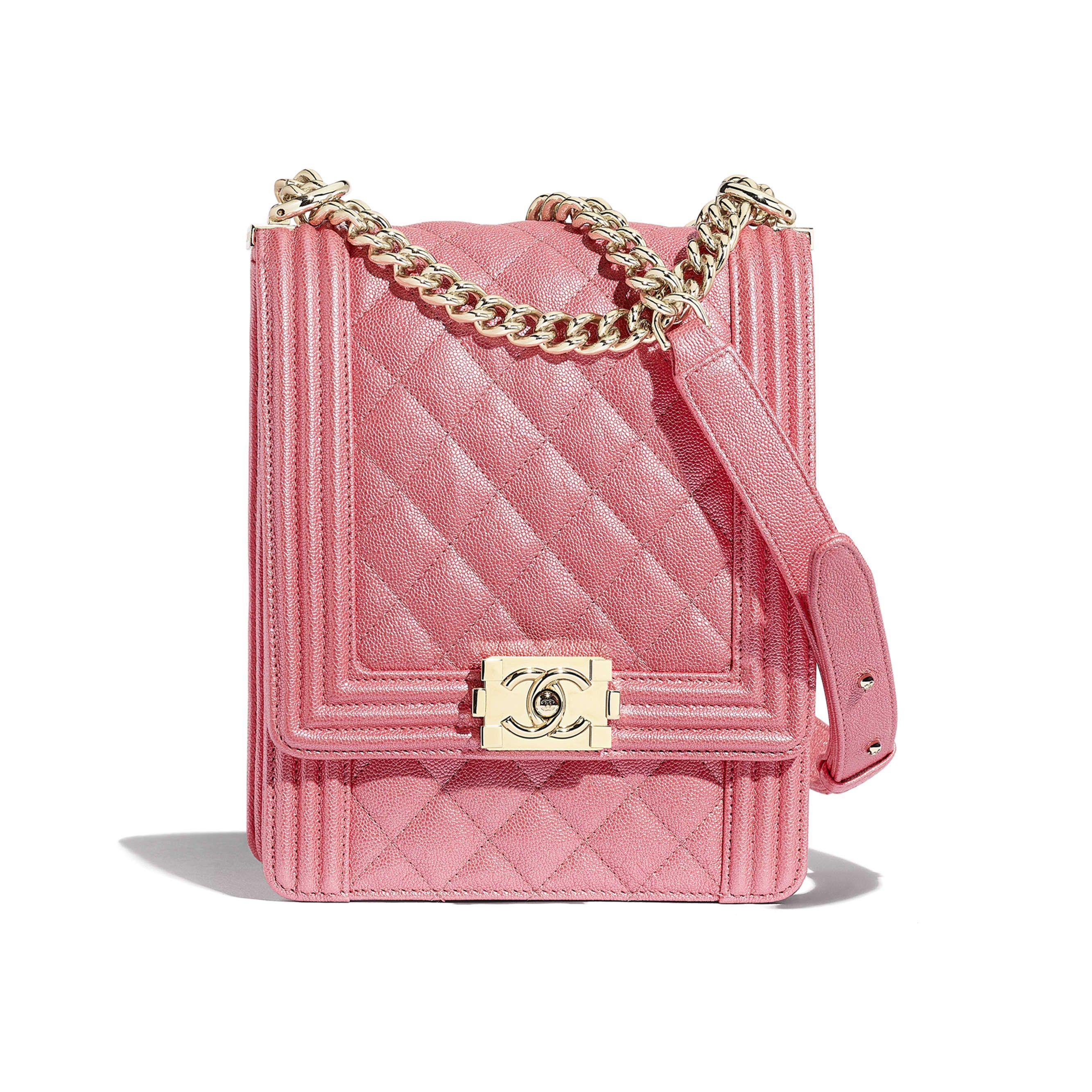 281bae87c8d0 BOY CHANEL Handbag - Pink - Metallic Grained Calfskin   Gold-Tone Metal -  Default view - see standard sized version