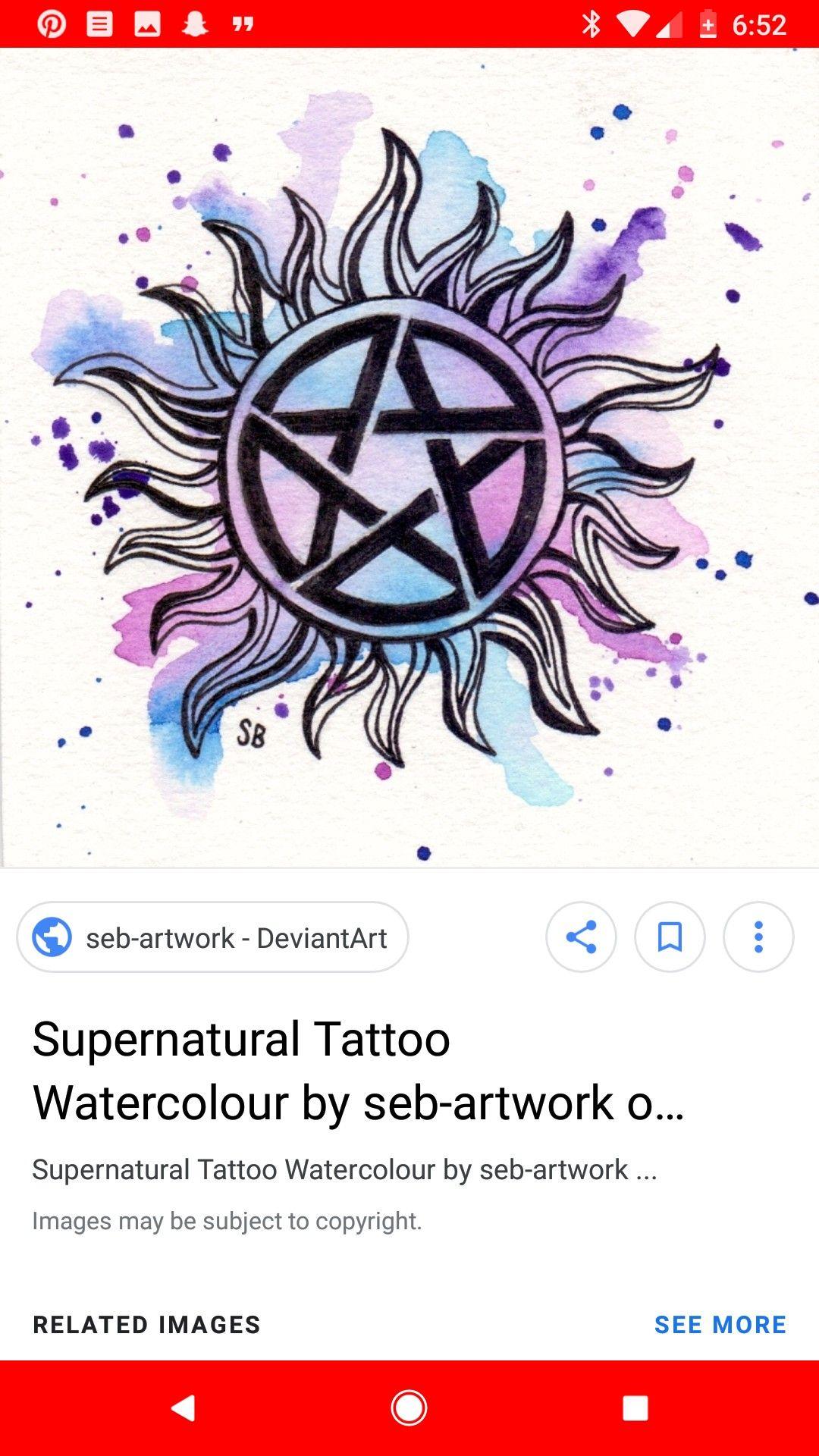 Antipossession tattoo watercolor. SUPERNATURAL Anti