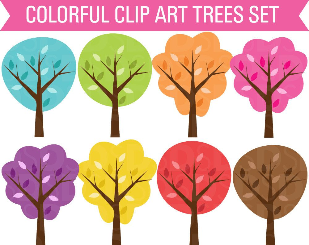 Trees colorful. Clip art set by