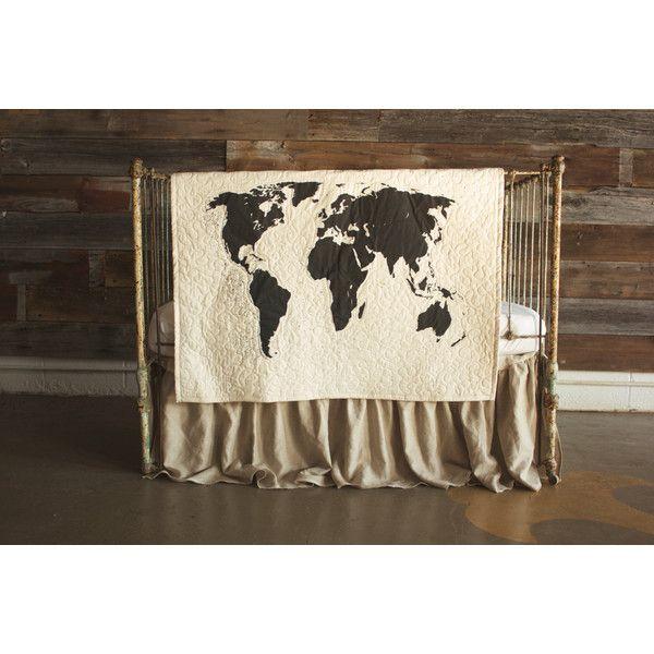 world map babytoddler quilt with optional 100 linen ruffle crib skirt 99