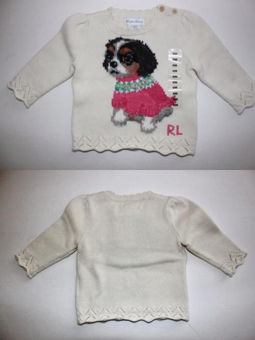 Ralph Lauren Dog Sweater Infant Girl 9m Nwt Bernese Mountain Puppy