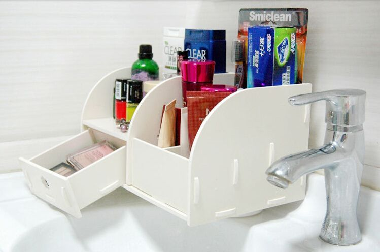 Hot PVC Creative Carved Dresser Cosmetic Wooden Storage Box Makeup